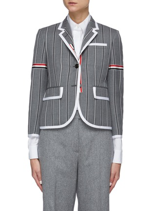 Main View - Click To Enlarge - THOM BROWNE - Tricolour Stripe Detail Striped Single-breast Wool Blazer