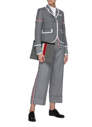 Figure View - Click To Enlarge - THOM BROWNE - Tricolour Stripe Detail Striped Single-breast Wool Blazer