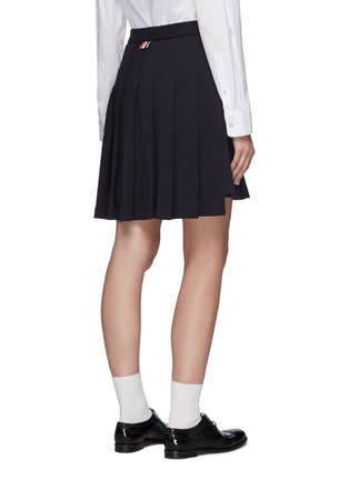 Back View - Click To Enlarge - THOM BROWNE - Tricolour Detail Pleated Cotton High-low Skirt