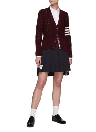Figure View - Click To Enlarge - THOM BROWNE - Tricolour Detail Pleated Cotton High-low Skirt