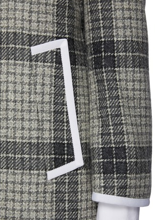 - THOM BROWNE - Windowpane check contrast edge wool coat