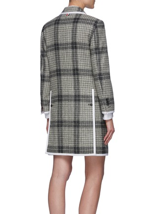 Back View - Click To Enlarge - THOM BROWNE - Windowpane check contrast edge wool coat