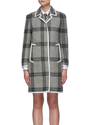 Main View - Click To Enlarge - THOM BROWNE - Windowpane check contrast edge wool coat