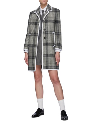 Figure View - Click To Enlarge - THOM BROWNE - Windowpane check contrast edge wool coat
