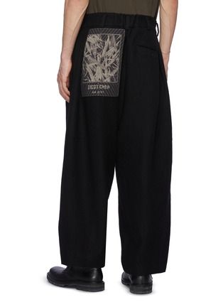 Back View - Click To Enlarge - ZIGGY CHEN - Bamboo Patchwork Detail Wide Loose Fit Dropped Crotch Wool Tapered Pants