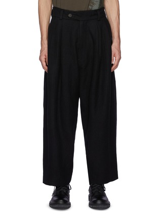 Main View - Click To Enlarge - ZIGGY CHEN - Bamboo Patchwork Detail Wide Loose Fit Dropped Crotch Wool Tapered Pants
