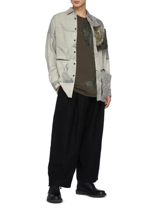 Figure View - Click To Enlarge - ZIGGY CHEN - Bamboo Patchwork Detail Wide Loose Fit Dropped Crotch Wool Tapered Pants