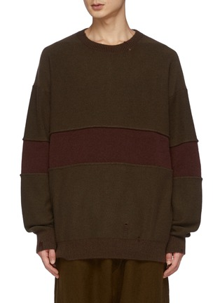 Main View - Click To Enlarge - ZIGGY CHEN - Wide Contrast Stripe Detail Crushed Cashmere Sweater
