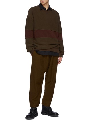 Figure View - Click To Enlarge - ZIGGY CHEN - Wide Contrast Stripe Detail Crushed Cashmere Sweater
