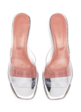 Detail View - Click To Enlarge - AMINA MUADDI - 'Lupita' Transparent glass heeled sandals
