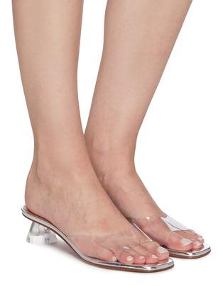 Figure View - Click To Enlarge - AMINA MUADDI - 'Lupita' Transparent glass heeled sandals