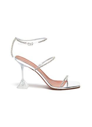 Main View - Click To Enlarge - AMINA MUADDI - Gilda Glass' Crystal Embellished PVC Heeled Sandals