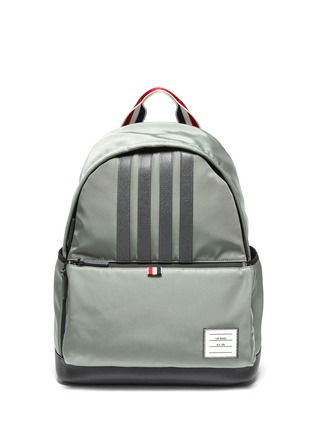 Main View - Click To Enlarge - THOM BROWNE - Four Bar Appliqué Nylon Backpack