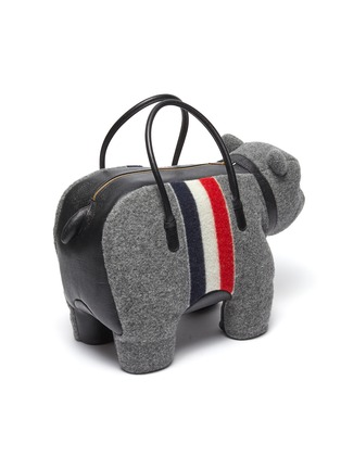 Detail View - Click To Enlarge - THOM BROWNE - Tricolour Stripe Boiled Wool Bear Top Handle Bag