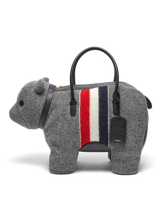 Main View - Click To Enlarge - THOM BROWNE - Tricolour Stripe Boiled Wool Bear Top Handle Bag