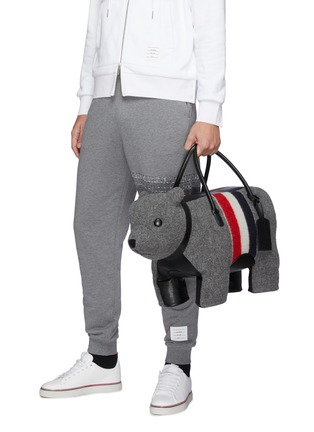 Figure View - Click To Enlarge - THOM BROWNE - Tricolour Stripe Boiled Wool Bear Top Handle Bag