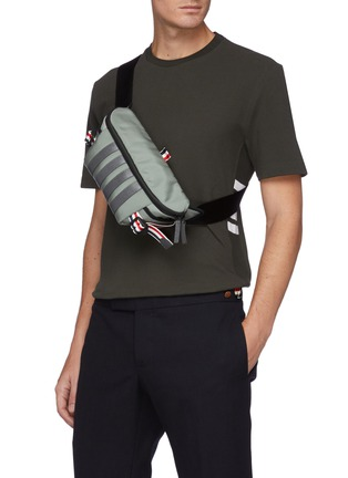 Figure View - Click To Enlarge - THOM BROWNE - Four Bar Stripe Bum Bag
