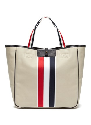 Main View - Click To Enlarge - THOM BROWNE - Tricolour Detail Canvas Tote