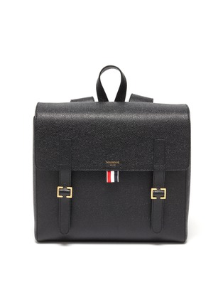Main View - Click To Enlarge - THOM BROWNE - Tricolour Tab Pebble Grain Leather Backpack