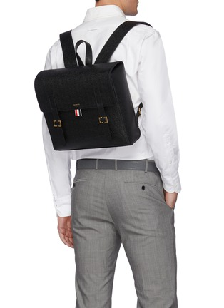Figure View - Click To Enlarge - THOM BROWNE - Tricolour Tab Pebble Grain Leather Backpack