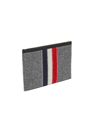 Detail View - Click To Enlarge - THOM BROWNE - Tricolour Stripe Zip Boiled Wool Pouch