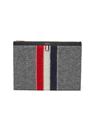 Main View - Click To Enlarge - THOM BROWNE - Tricolour Stripe Zip Boiled Wool Pouch