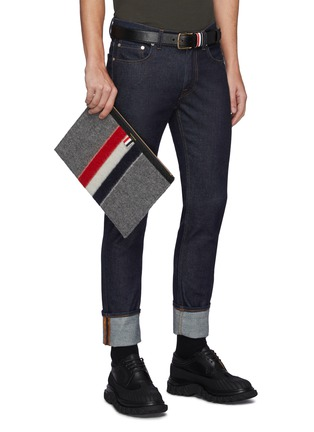 Figure View - Click To Enlarge - THOM BROWNE - Tricolour Stripe Zip Boiled Wool Pouch
