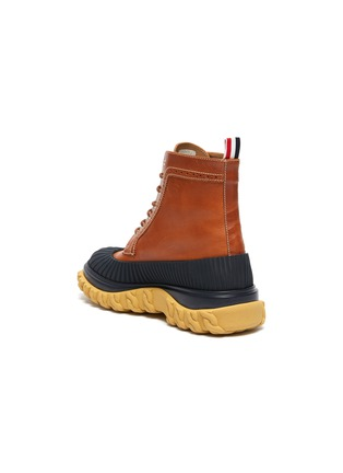 - THOM BROWNE - 'Longwing' Contrast Mudguard Leather Boots