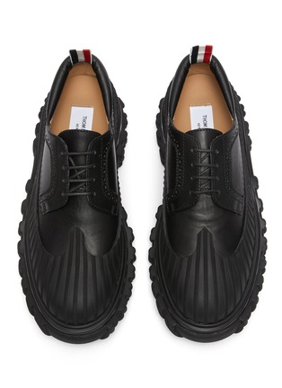 Detail View - Click To Enlarge - THOM BROWNE - 'Longwing' Mudguard Overlay Leather Derby Shoes