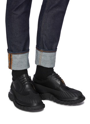 Figure View - Click To Enlarge - THOM BROWNE - 'Longwing' Mudguard Overlay Leather Derby Shoes