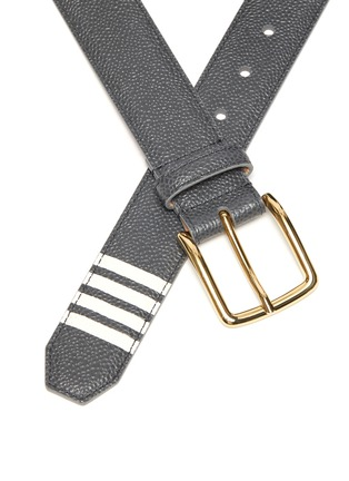 Detail View - Click To Enlarge - THOM BROWNE - Four Bar Stripe Leather Belt