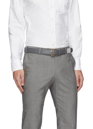 Figure View - Click To Enlarge - THOM BROWNE - Four Bar Stripe Leather Belt