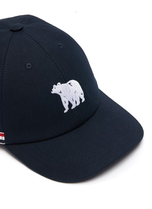 Detail View - Click To Enlarge - THOM BROWNE - Embroidered Bear Tricolour Stripe Cap