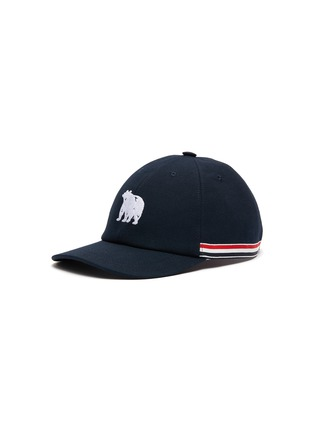 Main View - Click To Enlarge - THOM BROWNE - Embroidered Bear Tricolour Stripe Cap