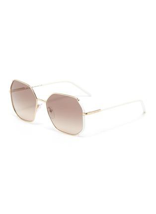 Main View - Click To Enlarge - PRADA - Contrast Temple Angular Metal Frame Sunglasses