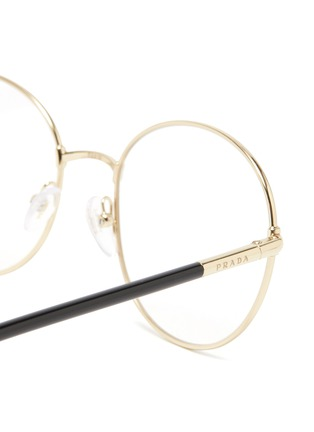 Detail View - Click To Enlarge - PRADA - Contrast Temple Round Metal Frame Optical Glasses
