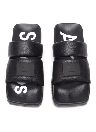Detail View - Click To Enlarge - ACNE STUDIOS - Face Logo Patch Square Toe Leather Sandals