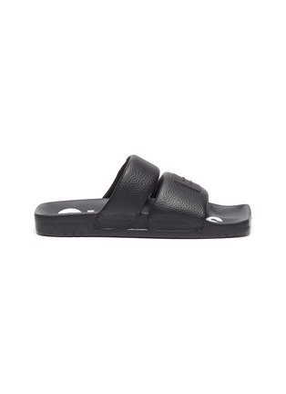 Main View - Click To Enlarge - ACNE STUDIOS - Face Logo Patch Square Toe Leather Sandals
