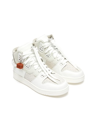 Detail View - Click To Enlarge - ACNE STUDIOS - Face Motif Charm High Top Leather Sneakers