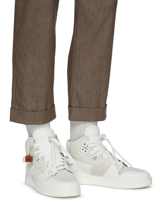 Figure View - Click To Enlarge - ACNE STUDIOS - Face Motif Charm High Top Leather Sneakers