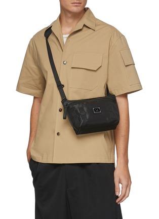 Figure View - Click To Enlarge - ACNE STUDIOS - Face Plaque Nylon Mini Messenger Bag