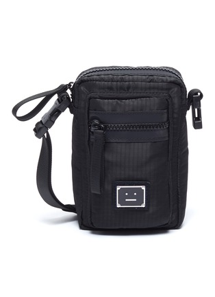 Main View - Click To Enlarge - ACNE STUDIOS - Face Plaque Nylon mini crossbody bag