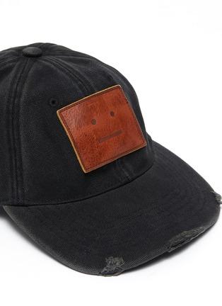 Detail View - Click To Enlarge - ACNE STUDIOS - Leather Face Patch Distress Detail Cotton Cap