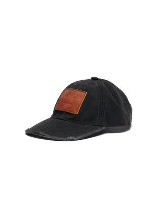 Main View - Click To Enlarge - ACNE STUDIOS - Leather Face Patch Distress Detail Cotton Cap