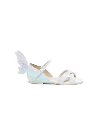 Main View - Click To Enlarge - SOPHIA WEBSTER - 'Talulah' Butterfly Motif Glitter Crisscross Strap Kids Sandals