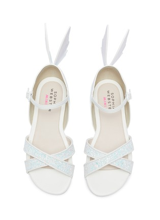 Figure View - Click To Enlarge - SOPHIA WEBSTER - 'Talulah' Butterfly Motif Glitter Crisscross Strap Kids Sandals