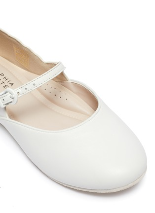 Detail View - Click To Enlarge - SOPHIA WEBSTER - Talulah' Iridescent Butterfly Motif Buckle Strap Kids Leather Flats