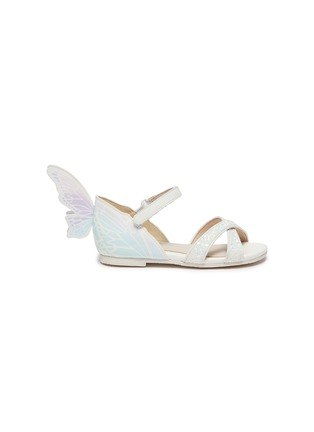 Main View - Click To Enlarge - SOPHIA WEBSTER - Talulah' Iridescent Butterfly Motif Velcro Strap Toddler Glitter Leather Sandals