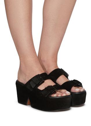 Figure View - Click To Enlarge - CLERGERIE - Esme' Double Strap Suede Platform Sandals