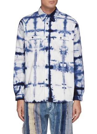 Main View - Click To Enlarge - FDMTL - Grided Tie Dye Cotton Oversized Shirt
